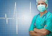 picture of dark-skin  - Dark skinned surgeon with ECG sign on dark blue background - JPG