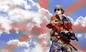 stock photo of rifle  - soldier with rifle on a sky and England flag background double exposure - JPG