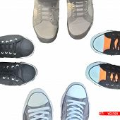 stock photo of insole  - Abstract cartoon sneakers on white background - JPG