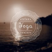 Постер, плакат: Poster for yoga class with a sea view