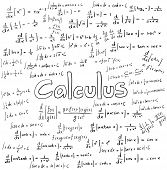Постер, плакат: Calculus Law Theory And Mathematical Formula Equation Doodle Handwriting Icon In White Isolated Bac