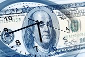 picture of american money  - Clock and American banknote - JPG