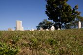 stock photo of revolutionary war  - Revolutionary war era cemetery taken on a bright - JPG