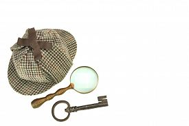 picture of investigation  - Sherlock Holmes Deerstalker Cap Vintage Magnifying Glass And Old Key Isolated On White Background - JPG