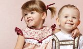 pic of little young child children girl toddler  - cute boy and girl in the room - JPG