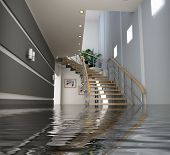 image of flood-lights  - modern interior with stair under the water - JPG