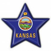 Kansas (usa State) Button Flag Star Shape