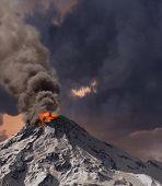 erupção do vulcão (renderização 3D)