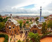 BARCELONA, SPAIN - OCTOBER 11: The famous Park Guell on October 11, 2010 in Barcelona, Spain. The im