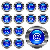 WEB round blue icon button.