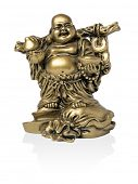 Chinese statuette on white background (isolated).
