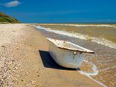 Bathtub on a sea shore.