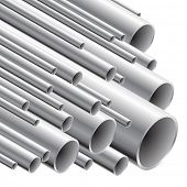 Pila de tubos de acero (ilustración vectorial).