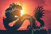 China Stock Market Graph Crash Down poster