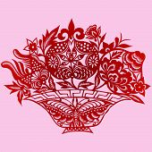 Floral Element Design In Chinese Traditional Paper Cut Style (Vector)