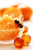 tangerine bath - bath salt and fresh fruits