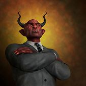 stock photo of immoral  - An arrogant ruthless demon in business attire  - JPG