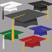 Assortment of graduation caps & tassles, from stately black or classic white to crimson or royal blue. Each on its own layer, for easy use and editing. Pure vector, no CS effects used.