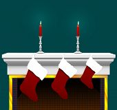 Ready to stuff with your goodies: 3 Christmas Stockings, on a Fireplace Mantle with candles and cand