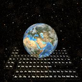 It's all about atoms. Render of real Periodic Table of the Elements and Earth in Space. Room for your copy, logo, image, or crop at the top.