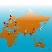 Kleben Sie die Stifte in einer Karte von E-Hemisphäre, Farbe Reißnägel auf Folien für die einfache Bearbeitung. Blutet in weiß oben; Co