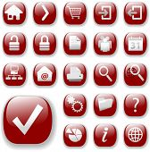 Your set of shiny button icons is ready. The ruby red Website Navigation Collection.