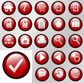 Set of shiny red inset Control Button Icons for white or gray backgrounds.