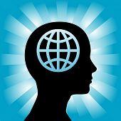 A Kugel in den Kopf einer Kontur-Frau wie Global denkt.