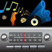 DJ drive time on a retro AM FM Dashboard Radio. Gold notes for golden oldies, blue music symbol for cool blues, jazz etc.