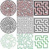 Un juego de rompecabezas laberinto 3 en variaciones de sólido y con soluciones y contorno.