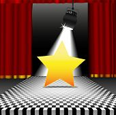 A bright shining star as copyspace in the spotlight on a stage with a disco style checkerboard tile