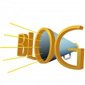 A Big Blue BLOG 3D Megaphone for loud high powered blogging.