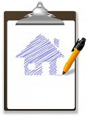 An orange ball point pen drawing plan or sketch of a house in blue ink on white copy space of a page