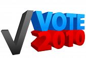 Cast a vote for red or blue in 2010 off year election as a check mark choice.