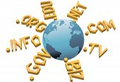 World top level URL internet WWW domain names circle Earth.