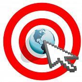 Internet cursor arrow clicks on search engine marketing SEM world in target bulls eye.