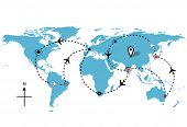 World map of airline airplane flight path travel plans.