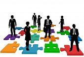 Human resources issues and other people issues and solutions with people on jigsaw pieces, which act