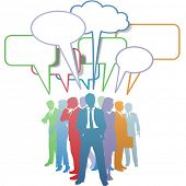 stock photo of person silhouette  - Group of colorful business people network and communicate in speech bubbles - JPG