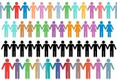 Rows of diverse stick figure symbol people and couples hold hands as borders or lines