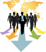 Group of global business people walk forward on progress arrows from a world map