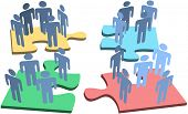 Human resources or social media people groups connect on network puzzle pieces