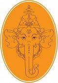 Ganesh In Orange Oval