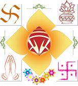 Ganesh, Swastic, Namaskar, Flower and mix icons