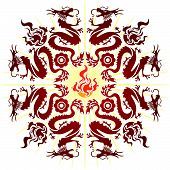 8 Dragon Illustration In Paper Cut Style (Vector)