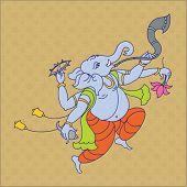 Ganesha (Elephant God) playing music abstract background