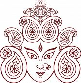 stock photo of navratri  - Durga Indian Goddess ornamental design - JPG