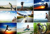 image of nomads  - Collage with sport and travel theme - JPG