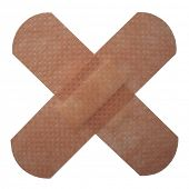 corporeal cross bandages isolated on white