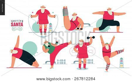 poster of Sporting Santa - Gym Exercises - Modern Flat Vector Concept Illustration Set Of Cheerful Santa Claus